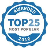 Top 25 Most Popular Party and Event Services badge for 2016
